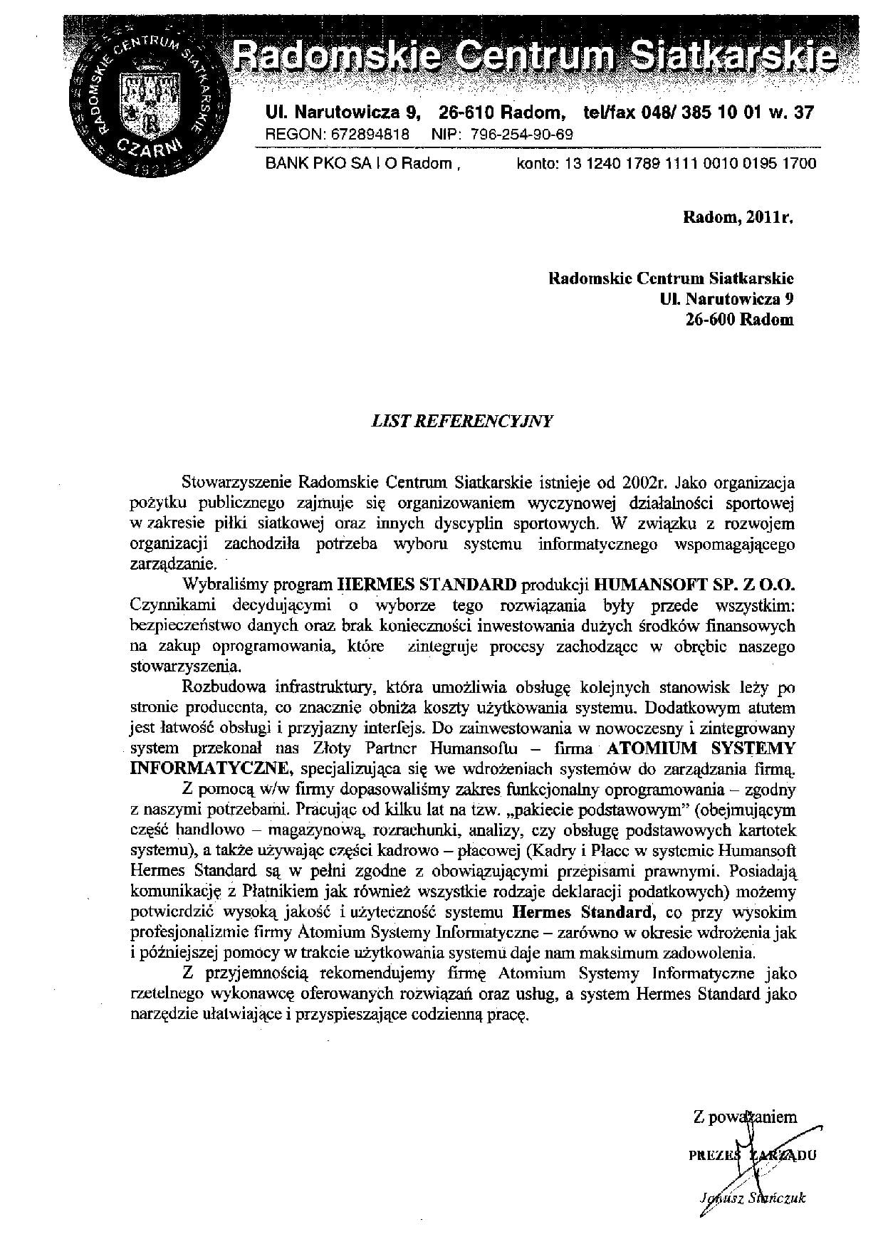 RCS - list referencyjny