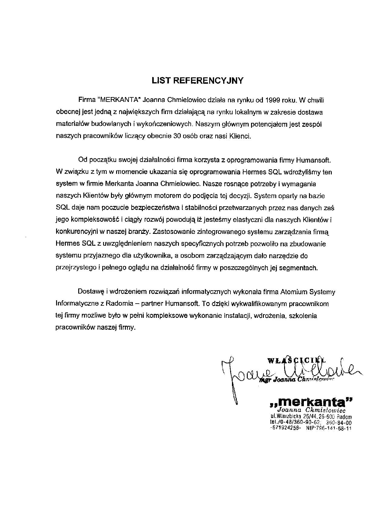 Merkanta - list referencyjny